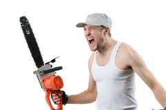 Expressive man with electric saw Royalty Free Stock Photo
