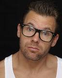 Expressive man with glasses Royalty Free Stock Images