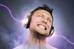 Expressive man with headphones, concept art Royalty Free Stock Images