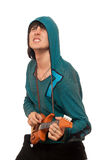 Expressive man with a little guitar stock image