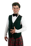 Expressive man in Scottish costume. Stock Photography