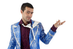 Expressive man in stage costume. Royalty Free Stock Photos