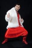 Expressive man in white fur coat. Portrait of expressive man in white fur coat Royalty Free Stock Photo