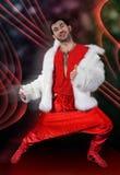 Expressive man in white fur coat. Stock Photos