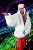 Expressive man in white fur coat. Stock Photos