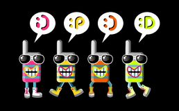 Expressive mobile phone group of mascots Royalty Free Stock Images