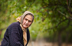 Expressive old woman outdoor Royalty Free Stock Photos