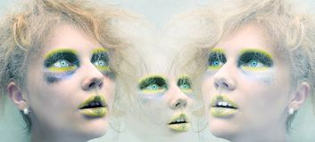 Expressive picture of woman's faces Royalty Free Stock Photography