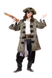 Expressive pirate with a pistol Royalty Free Stock Images