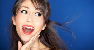 Expressive portrait. Of a beautiful happy young woman Royalty Free Stock Photos