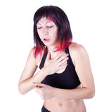Expressive portrait of woman who has chest pain stock image