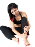 Expressive portrait of woman who has joint pain. Studio shot stock photos