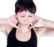 Expressive portrait of woman who has neck pain stock photo
