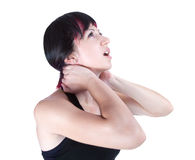 Expressive portrait of woman who has neck pain Stock Photography