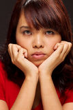 Expressive portrait of a young woman Stock Photos