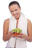 Expressive positive woman with salad Royalty Free Stock Photography