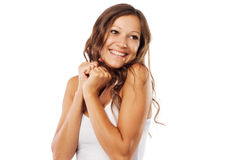 Expressive positivity. Cute happy woman on white background stock photos