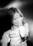 Expressive preschooler girl portrait in harcourt vintage style Royalty Free Stock Image