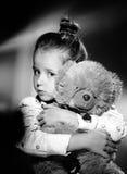 Expressive preschooler girl portrait in harcourt vintage style Royalty Free Stock Images