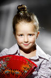 Expressive preschooler girl portrait in harcourt vintage style Royalty Free Stock Photos