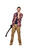 Expressive rock man playing an electric guitar Stock Photos