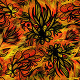Expressive seamless pattern with fire colors. Expressive hand drawn sketchy floral seamless pattern with fire colors. Eps10 Stock Photos