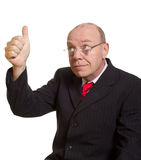 Expressive senior businessman. Isolated on white thumbs up concept royalty free stock photo