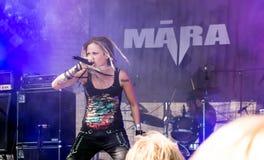 Expressive singer Māra Lisenko of Latvian metal band Māra. Jekabpils, Latvia - August 4, 2018: Expressive singer Māra Lisenko of Latvian metal band M royalty free stock image