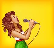 Singing young woman with microphone pop art vector. Expressive singing woman with microphone in hands pop art vector illustration with copyspace. Karaoke signer Stock Photography