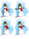 Expressive Snowmen Sketches Royalty Free Stock Images