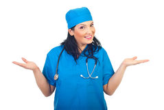 Expressive surgeon woman royalty free stock photos