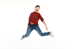 Expressive teenager in jump Royalty Free Stock Photography