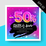 Expressive Vector Sale Template with Watercolor Splash. Expressive Vector Sale Template with Grunge Watercolor Splash and Calligraphy. Trendy Colorful Elements Royalty Free Stock Photo