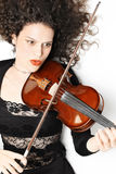 Expressive violinist with violin Royalty Free Stock Photography