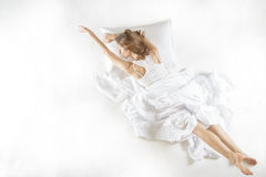 Expressive woman in action, dreaming concept. Stock Images