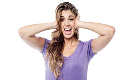 Expressive woman covering her ears Royalty Free Stock Image