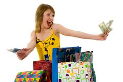 Expressive woman shopping Stock Photography