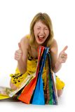 Expressive woman shopping Stock Photo