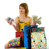 Expressive woman shopping Royalty Free Stock Photography