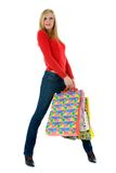 Expressive woman shopping Royalty Free Stock Images