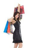 Expressive woman shopping Royalty Free Stock Photo