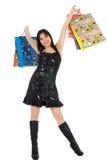 Expressive woman shopping Stock Photos