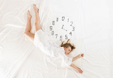 Expressive woman sleeping, dreaming concept Royalty Free Stock Image