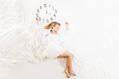 Expressive woman sleeping, dreaming concept Royalty Free Stock Images