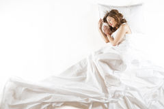 Expressive woman sleeping Royalty Free Stock Image