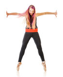 Expressive young dancing woman Stock Images