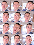 Expressive young man collage Stock Photos