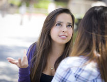 Expressive Young Mixed Race Female Sitting and Talking with Girl Royalty Free Stock Image