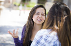 Expressive Young Mixed Race Female Sitting and Talking with Girl Royalty Free Stock Photography