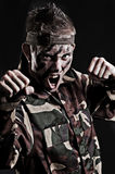 Expressive young soldier Stock Image